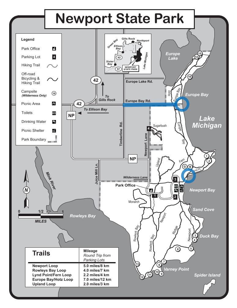 Cross country skiing map for Newport State Park in Door County Wisconsin.