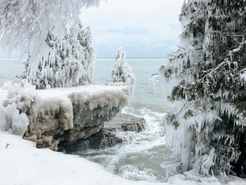Cave Point County Park Winter